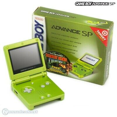 GameBoy Advance console GBA SP + DK Country + power supply Lime Green Ltd Ed US