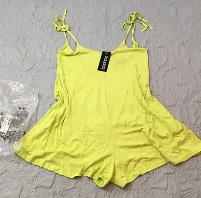 Boohoo Women's Low Back Tie Shoulder Playsuit Lime Green U.S. Size 6 UK 10 NWT