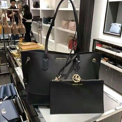 3e5064ac59bde6 NWT Michael Kors Trista Leather Drawstring Tote Shoulder Bag With Pouch  Black