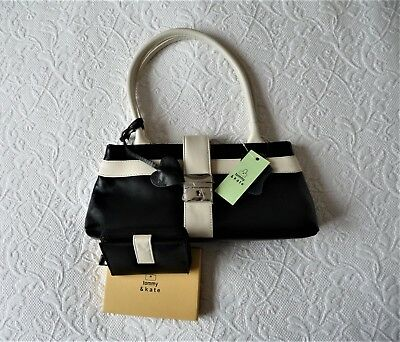 53e0a8142e2 Tommy and Kate black and cream leather handbag with matching purse. New.