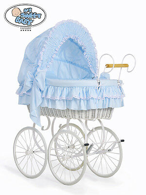 My Sweet Baby - Retro White Wicker Crib Moses Basket - Blue