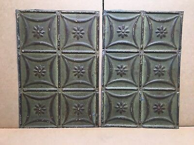 "2pc Lot of 18"" by 12"" Antique Ceiling Tin Vintage Reclaimed Salvage Art Craft"