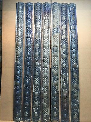 "7pc Lot of 48"" by 3.5"" Antique Ceiling Tin Vintage Reclaimed Salvage Art Craft"