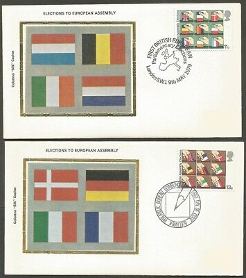 GREAT BRITAIN 1979 ELECTIONS TO EUROPEAN ASSEMBLY 11p & 13p STAMPS COL SILK C