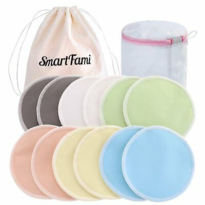 12 x Premium Reusable Washable Nursing Pads Organic Bamboo Mother Breastfeeding