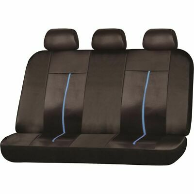 SCA Leather Look Sports Seat Covers - Black and Blue, Built-in Headrests, Rea...