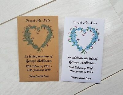 10 Personalised Forget Me Not Seed Packets Envelopes Funeral filled or unfilled