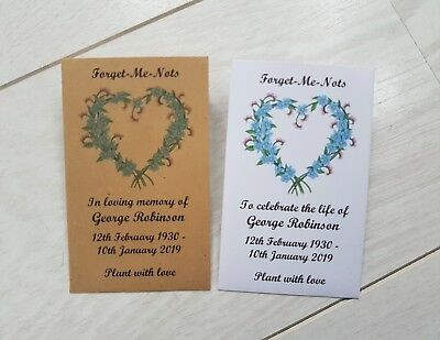 50 Personalised Forget Me Not Seed Envelopes Funeral Memorial filled or unfilled