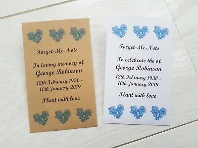 10 Personalised Forget Me Not Seed Envelopes Funeral Memorial filled or unfilled