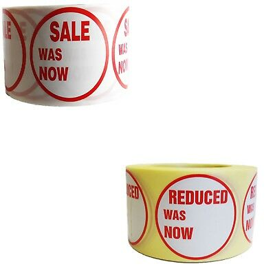 500 X Red Price Self Adhesive Sticker Reduced / Sale Was Now Labels