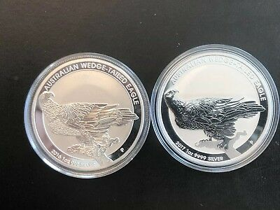 LOT Of (2) 2017 AUSTRALIA WEDGE TAILED EAGLE - 1 oz BU Silver Coin in Capsule