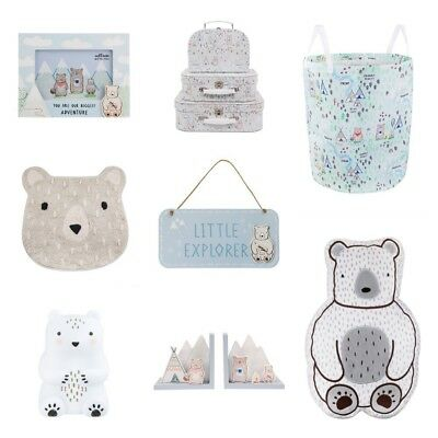 Sass and Belle Blue & Grey Bear Camp Nursery and Bedroom Decor Accessories