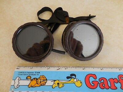 VTG. Welding Goggles Brown~ BLK.Strap vented Made In USA PAT.#2233664 ships FREE