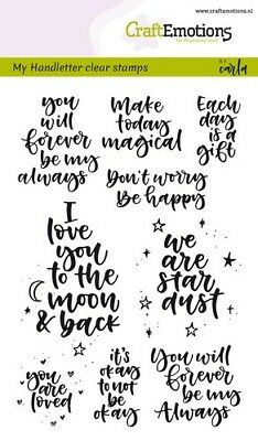 Motiv-Stempel Clear stamp Handletter Spruch Quote happy CraftEmotion 130501/1815