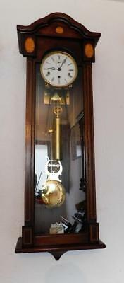 mahoganay weight driven westminster chimes vienna style wall clock