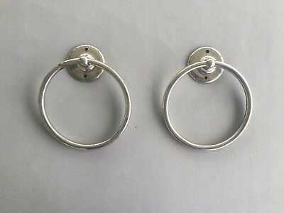 Pair Vintage Wilwear Nickel Brass Hoop Loop Ring Towel Bar Bath Kitchen   42-18J