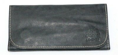 Soft Genuine Smoke Tobacco Pocket Pouch Real Vintage Black Leather