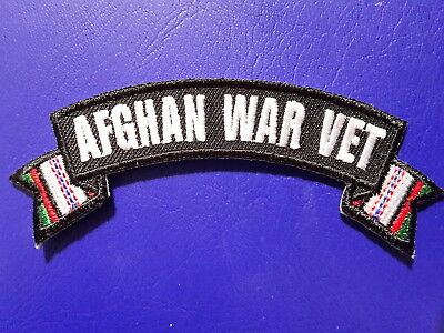 Afghan War Vet Banner Style Military Biker Embroidered Iron / Sew On Patch