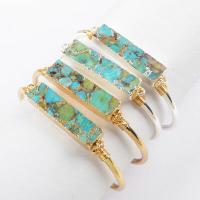 1Pcs Blue Copper Turquoise Bar Cuff Bangle Wire Wrap Gold Silver Plated HG1663