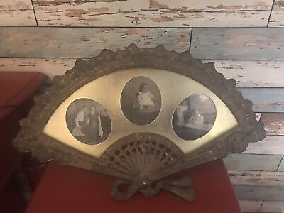 Vintage Antique Ornate Standing Picture Frame Brass 3 Oval Decorative Ormolu