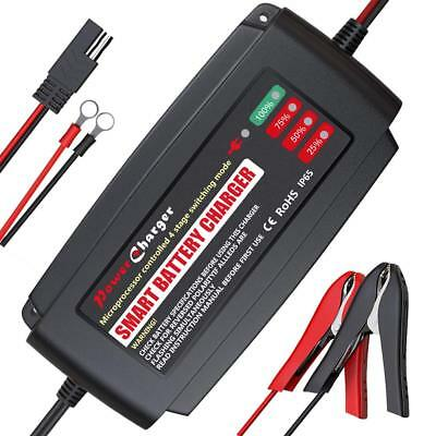 V A Smart Battery Charger Portable Battery Maintainer with Detachable Alligator/