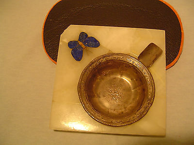 Marble Lapis Tigers Eye Inlay Sterling Silver Art Nouveau Turn o Century ashtray