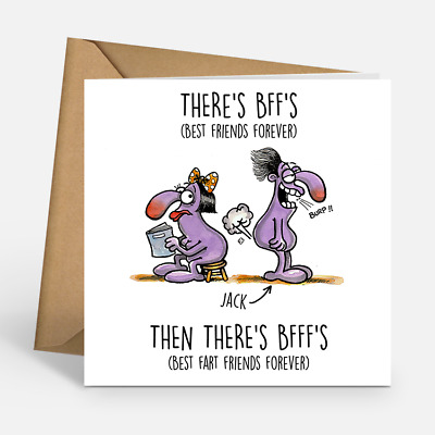 Personalised Bffs Best Friends Forever Bfffs Fart Funny Happy Birthday Cards Boy 2 99 Picclick Uk