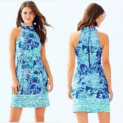 e5d59fe999 NWT Lilly Pulitzer Krista Shift Dress Blue Current Sea Siren-Size 00-Retail   178
