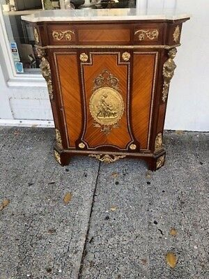 Antique Style Reproduction Marble Top Cupboard French Style