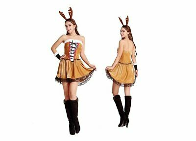 9c54b550f92 WOMEN CHRISTMAS REINDEER Costume Halloween Cosplay Party Deer Fancy ...