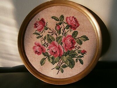 Vintage  Frame Wood Round with Floral Rose Petit Point Tapestry Belgium