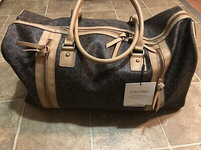 ed1c7a4a59 Calvin Klein CK Monogram Logo Yarmouth Dark Brown Duffle Bag Luggage NWT