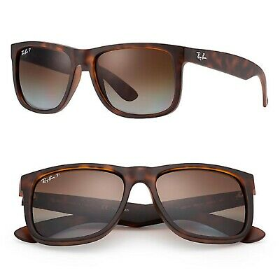 dbac7957b6 NEW Ray Ban Justin Matte Brown Tortoise Polarized Sunglasses RB4165 865 T5  54MM