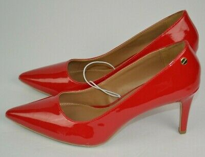 8ad8e56b1ce CALVIN KLEIN WOMEN'S Red Patent Pointy High Heels Shoes, Gloss Red 7 7.5 8  8.5