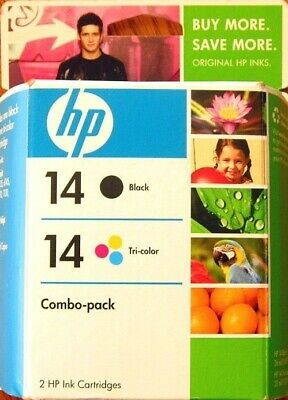 New in Box Genuine HP 14 Combo-Pack Black & Tri-Color Ink Cartridges Exp. 2/2010