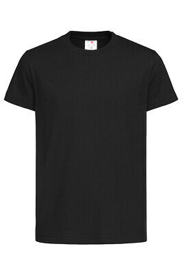 Kids Childrens Childs Plain BLACK Cotton Short Sleeve T-Shirt Tee Shirt