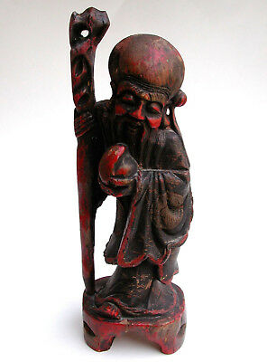 Rare Antique Chinese Wise Man Wood Sculpture Statue Figurine With Staff