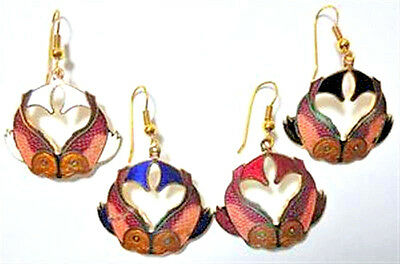 Vintage 1980's Cloisonne Enamel Koi Fish Gold Tone Earrings (1 pair)