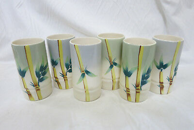 Vintage Set of 6 Weil Ware Tumbler Cups Bamboo Design