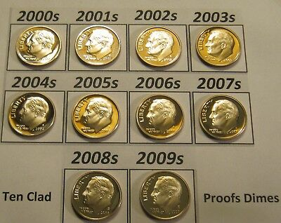 Complete Set of 10 2000's Clad Cameo Proof Roosevelt Dimes 2000-S to 2009-S