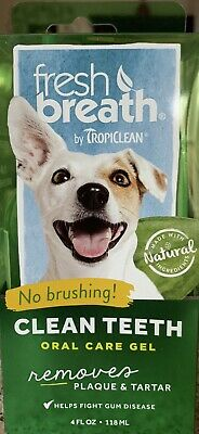 Tropiclean Fresh Breath Plaque Remover Pet Clean Teeth Gel 4oz For Dogs