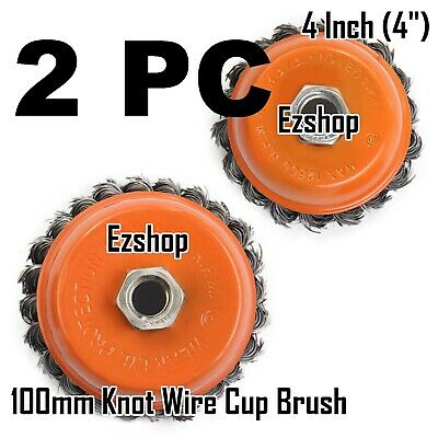 "2 Wire Cup Brush Wheel 4"" (100mm) for 4-1/2"" (115mm) Angle Grinder Twist Knot"