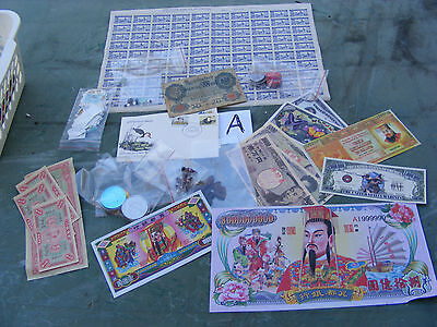 Lot,bargain mix,tokens,banknotes,Roman coins,stamps,Coca Cola,temple money.(A).