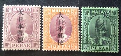 Perak 1942 Japanese Occupation 3 X Stamps With Kanji Characters Mint Hinged