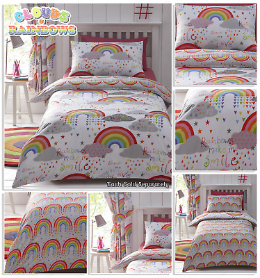 CLOUDS AND RAINBOWS Colourful Fully Reversible Duvet Cover Set Bedding Range