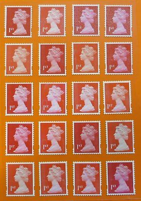 """100 1st Class red """"A"""" grade Unfranked GB Stamps (Peelable)"""