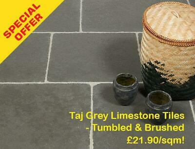 SAMPLE of Taj Grey Limestone Tiles - Tumbled & Brushed  WALL & FLOOR TILES