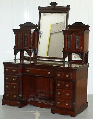 Ornate Grand Victorian Mahogany Dressing Table Loads Of Drawers Storage Space