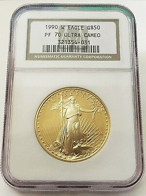 1990-W American Gold Proof Eagle $50 Ngc Pf 70 Ultra Cameo - 1 Oz Gold