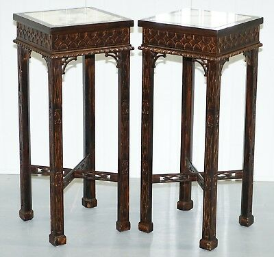 Pair Of Thomas Chippendale Chinese Style Marble & Carved Wood Jardiniere Stands